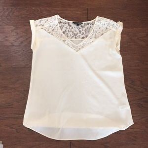 Cream and lace silky shirt from express